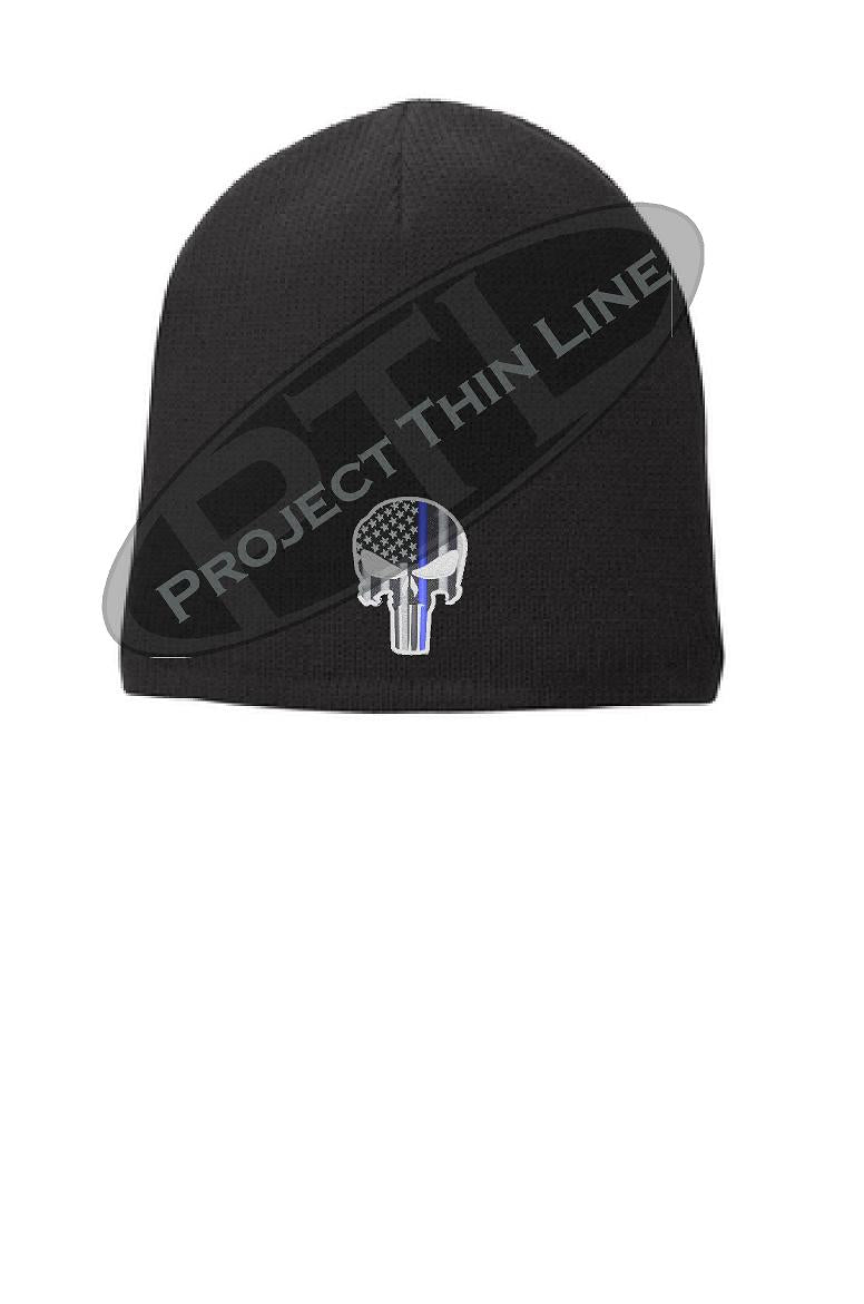 BLACK skull cap with Thin BLUE Line Punisher Skull inlayed with a subdued American Flag