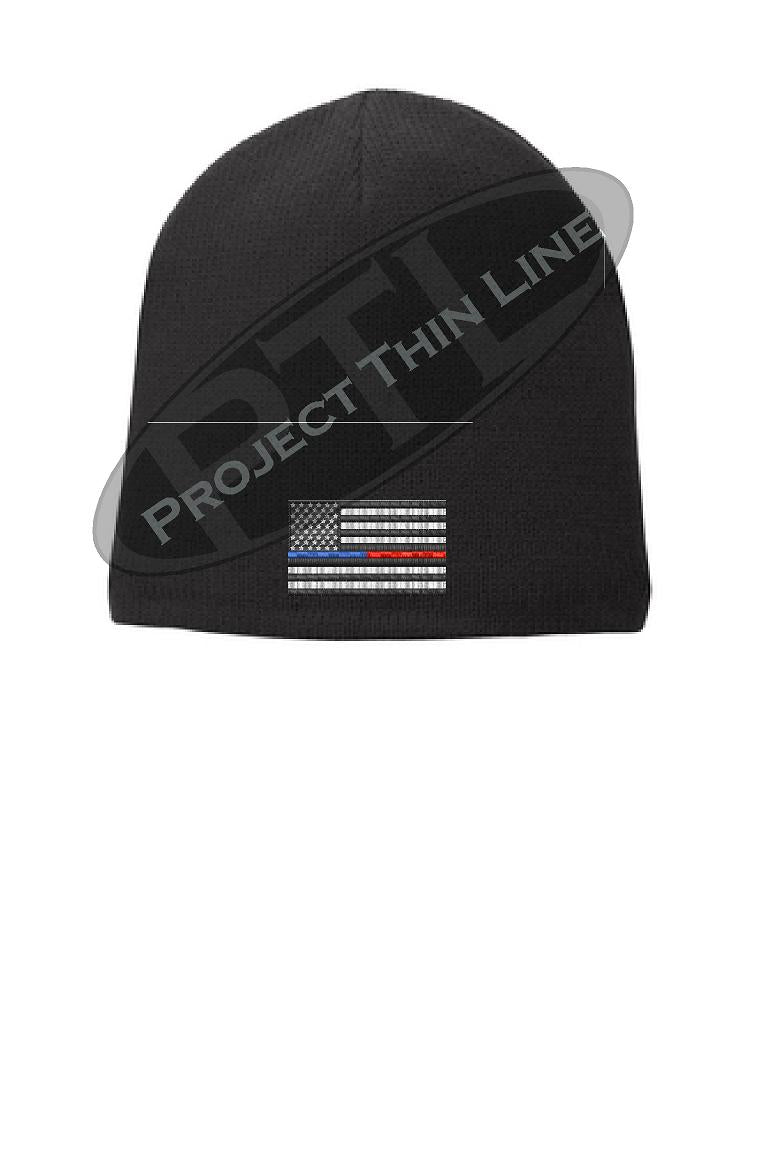 BLACK Thin BLUE / RED Line FLAG Skull FLEECE LINED Skull Cap
