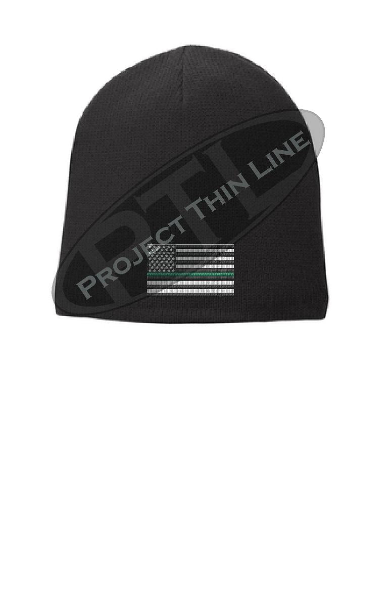 BLACK Thin Green Line FLAG Skull FLEECE LINED Beanie Cap