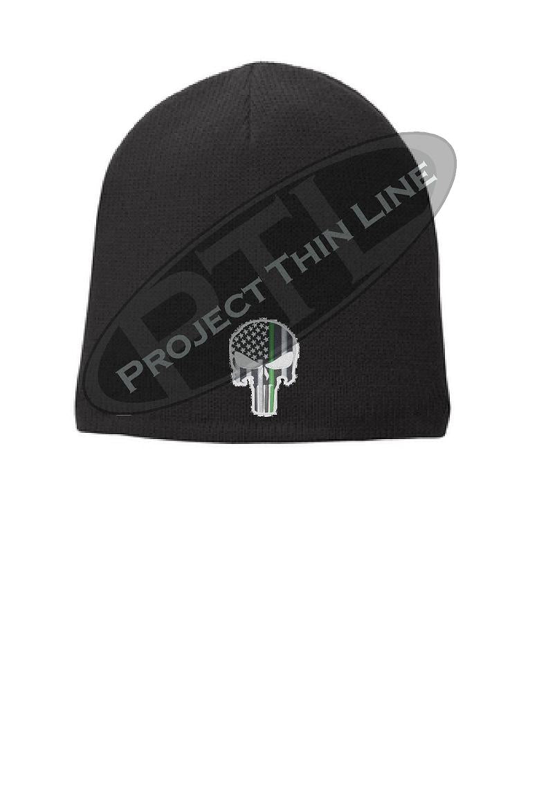 BLACK Thin Green Line Punisher SKULL FLEECE LINED Beanie Cap