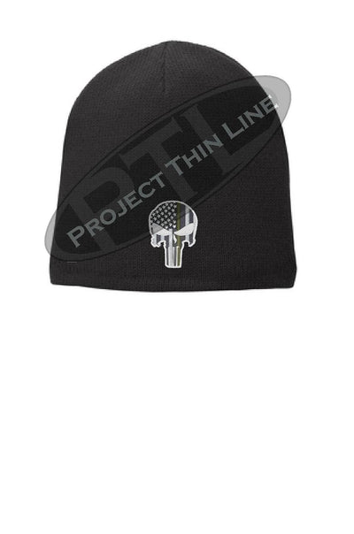 Black Thin GOLD Line Skull Punisher Slouch Beanie Hat