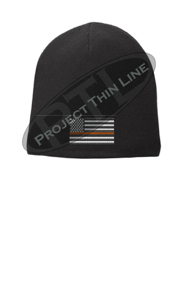 BLACK Thin Orange Line FLAG Skull FLEECE LINED Beanie Cap