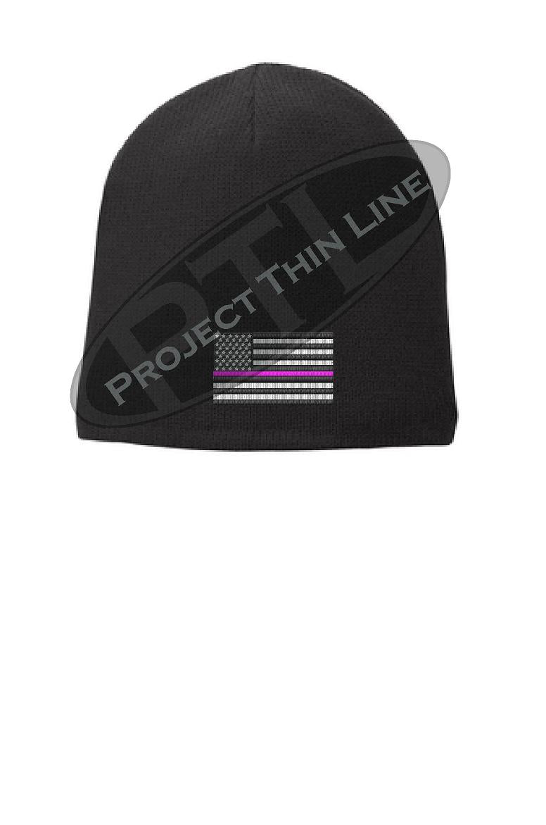 Black Thin PINK Line FLAG Skull FLEECE LINED Beanie Hat Cap