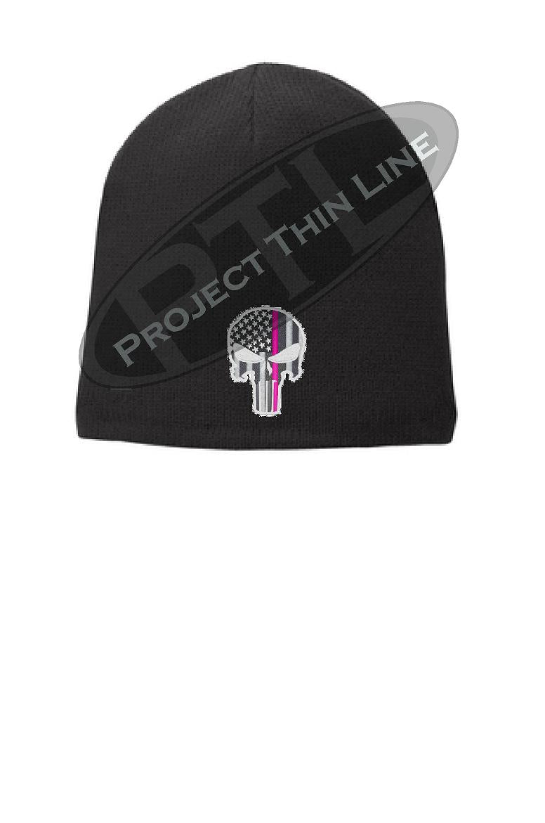 Black Thin PINK Line PUNISHER Skull FLEECE LINED Beanie Hat Cap