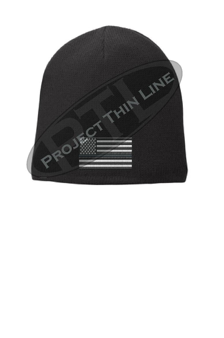 BLACK Thin SILVER Line FLAG Skull FLEECE LINED Beanie Cap