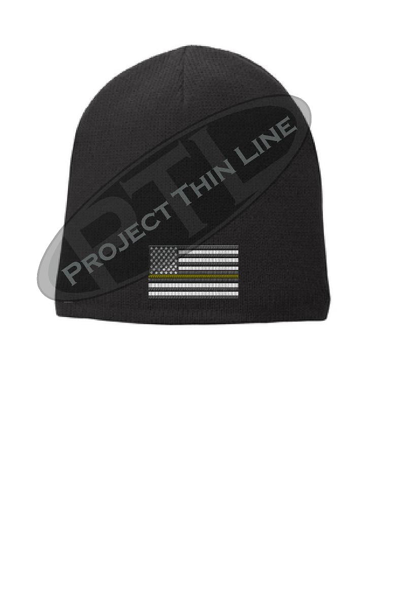 Black Thin YELLOW Line FLAG Skull Cap FLEECE LINED Beanie Hat