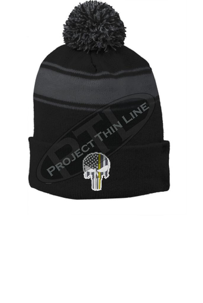 Thin GOLD Line Embroidered Skull Black Pom Pom Winter Hat