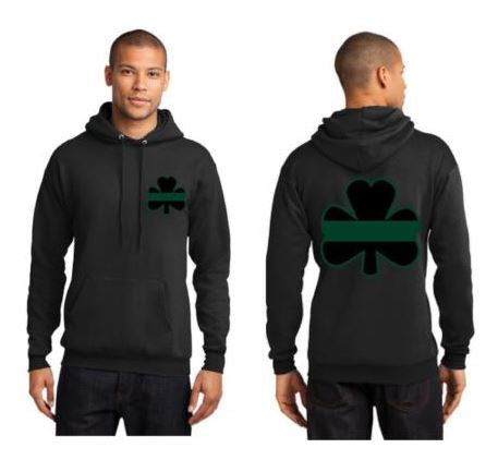 Mens - Thin GREEN Line Shamrock Clover Irish Hooded Sweatshirt