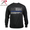 Rothco Thin Blue Line T-Shirt Black Long Sleeve w Tattered Flag