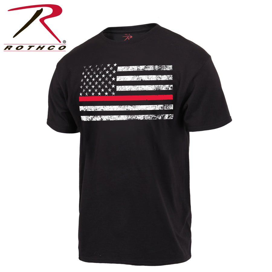 Rothco Thin RED Line T-Shirt Black Short Sleeve w Tattered Flag