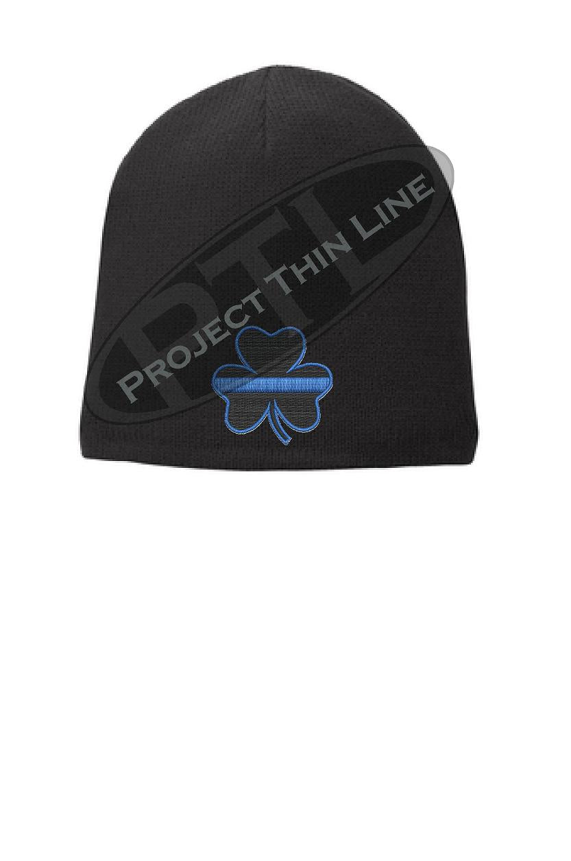 BLACK Thin BLUE Line Shamrock Clover FLEECE LINED Skull Cap
