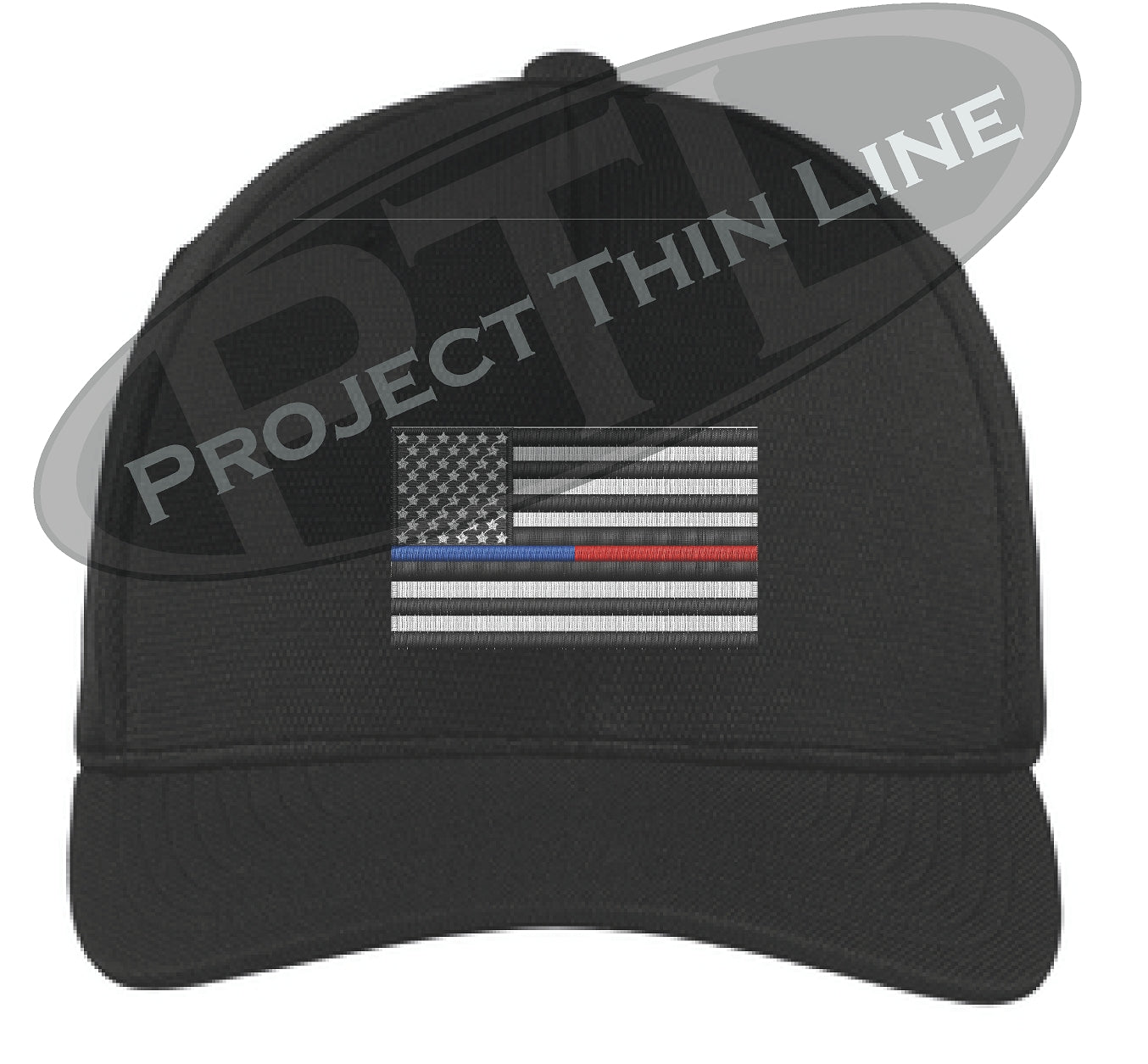 9c33d18d Black Embroidered Thin Blue / Red Line American Flag Flex Fit Fitted  Trucker Hat