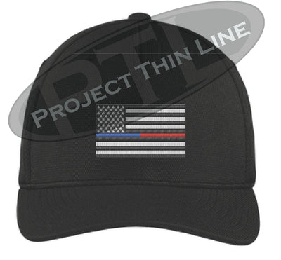 Black Embroidered Thin Blue / Red Line American Flag Flex Fit Fitted Trucker Hat