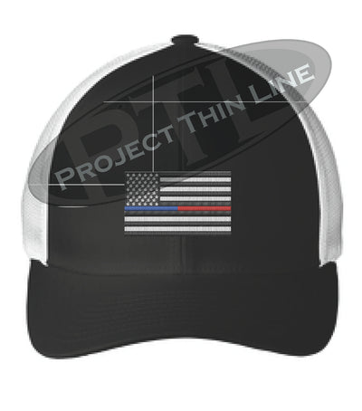Black / White Embroidered Thin Blue / Red Line American Flag Flex Fit Fitted Trucker Hat
