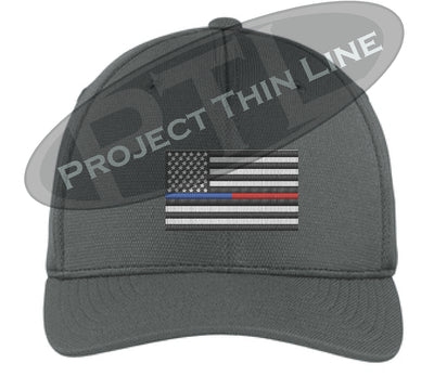 Dark Grey Embroidered Thin Blue / Red Line American Flag Flex Fit Fitted Trucker Hat