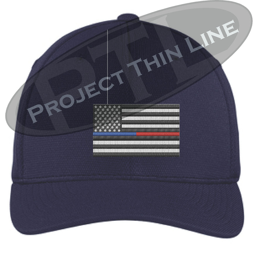 Embroidered Thin Blue / Red Line American Flag Flex Fit Fitted TRUCKER Hat