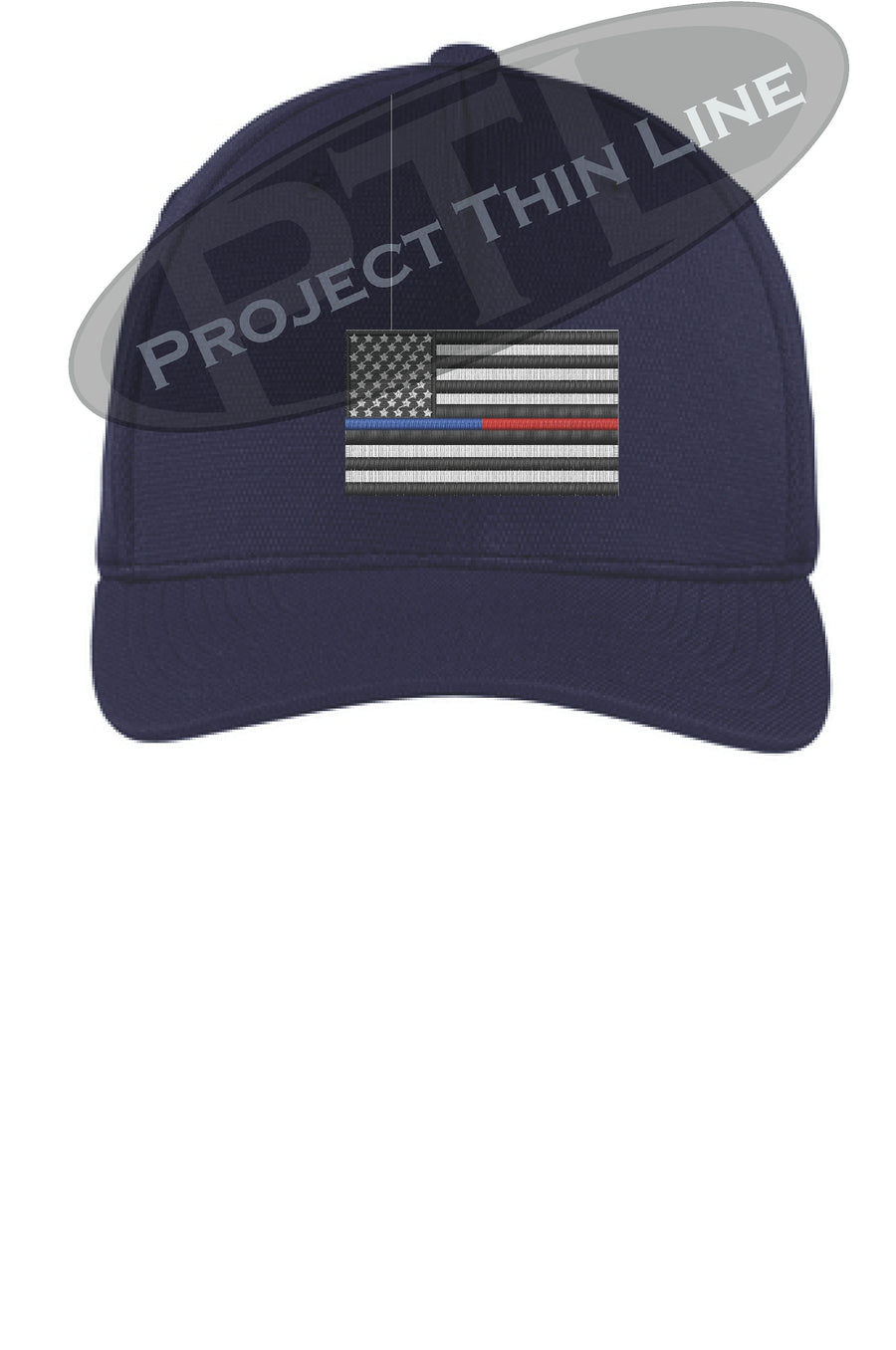 Embroidered Thin Blue / Red Line American Flag Flex Fit Fitted Hat