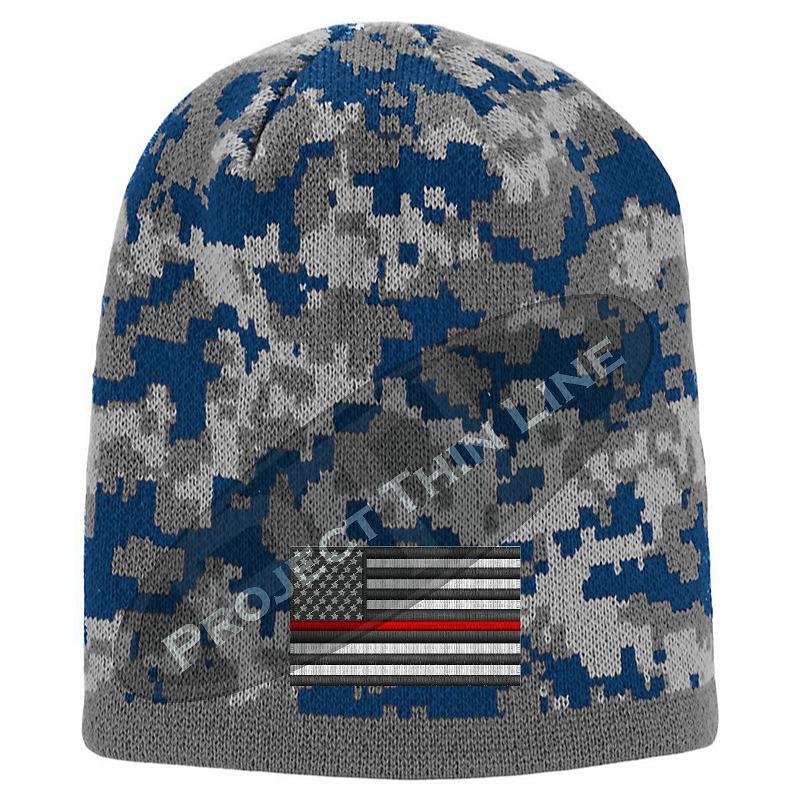 Blue Camouflage Thin RED Line American FLAG Skull Cap