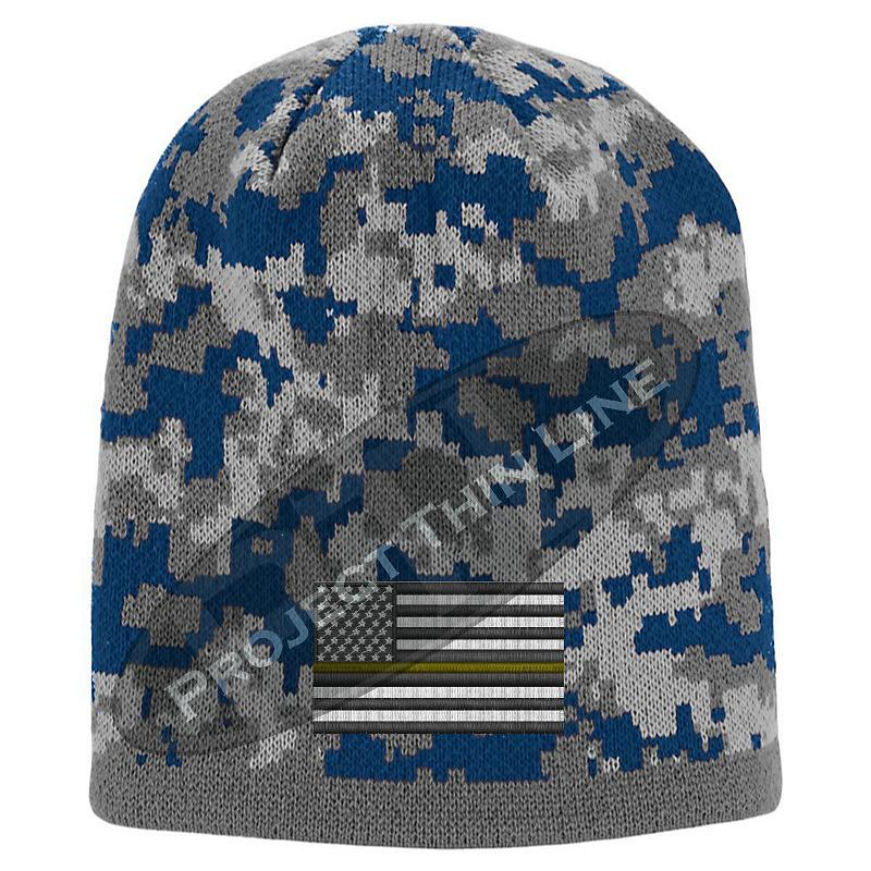 Blue Camo Thin YELLOW Line FLAG Skull Cap