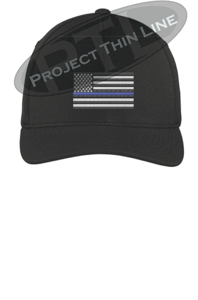 BLACK Embroidered Thin Blue American Flag Flex Fit Fitted Hat