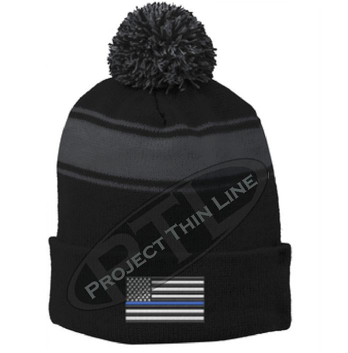 Thin BLUE Line Embroidered Flag Black Pom Pom Winter Hat