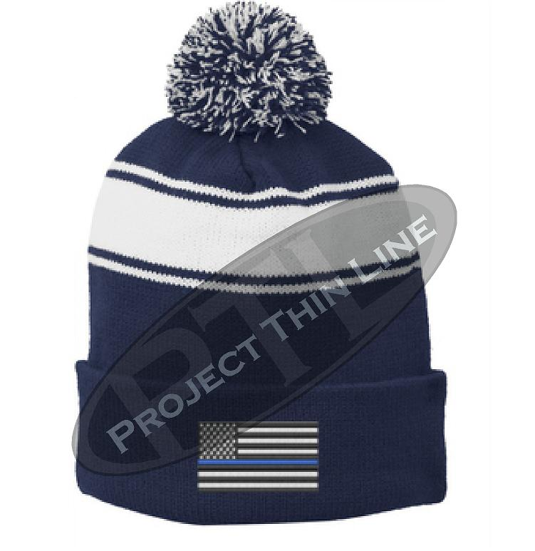Thin BLUE Line Embroidered Flag BLUE Pom Pom Winter Hat