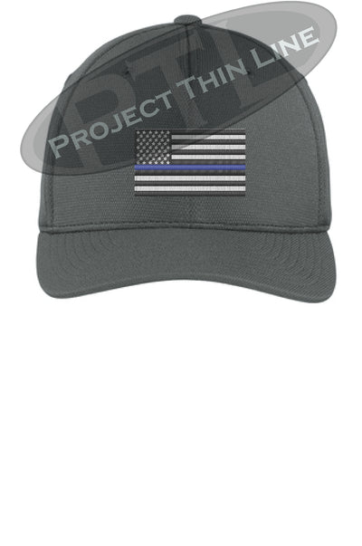 Dark Grey Embroidered Thin Blue American Flag Flex Fit Fitted Hat