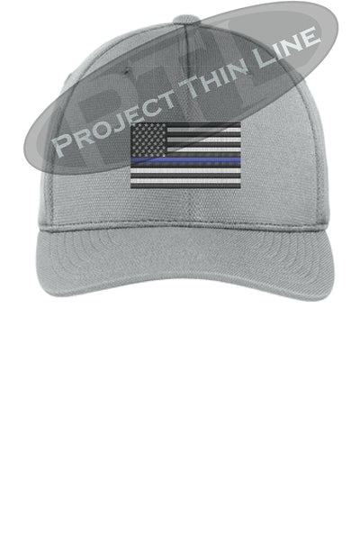 Light Grey Embroidered Thin Blue American Flag Flex Fit Fitted Baseball Hat