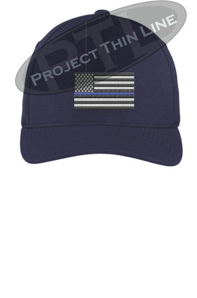 Navy Blue Embroidered Thin Blue American Flag Flex Fit Fitted Hat
