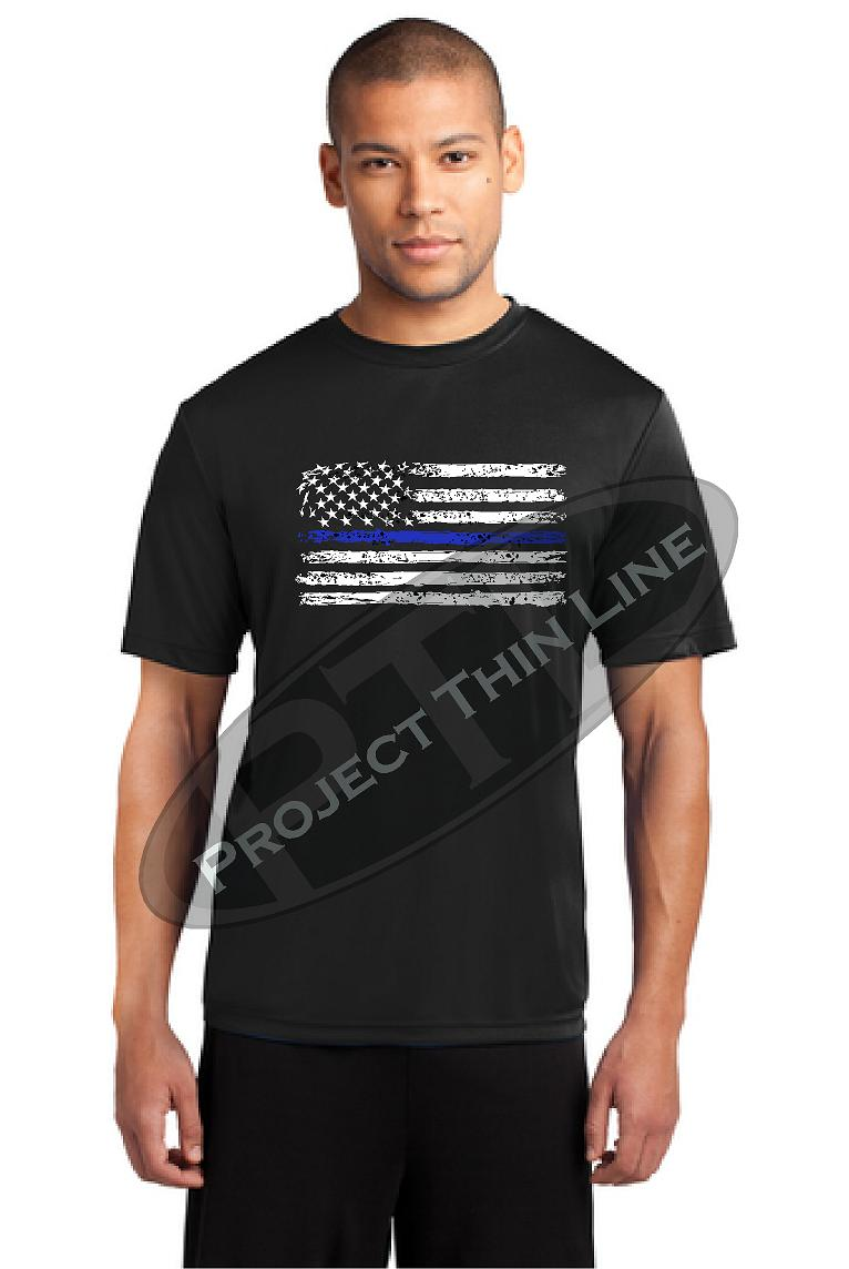 Thin BLUE Line Tattered Horizontal Flag Performance Short Sleeve Shirt