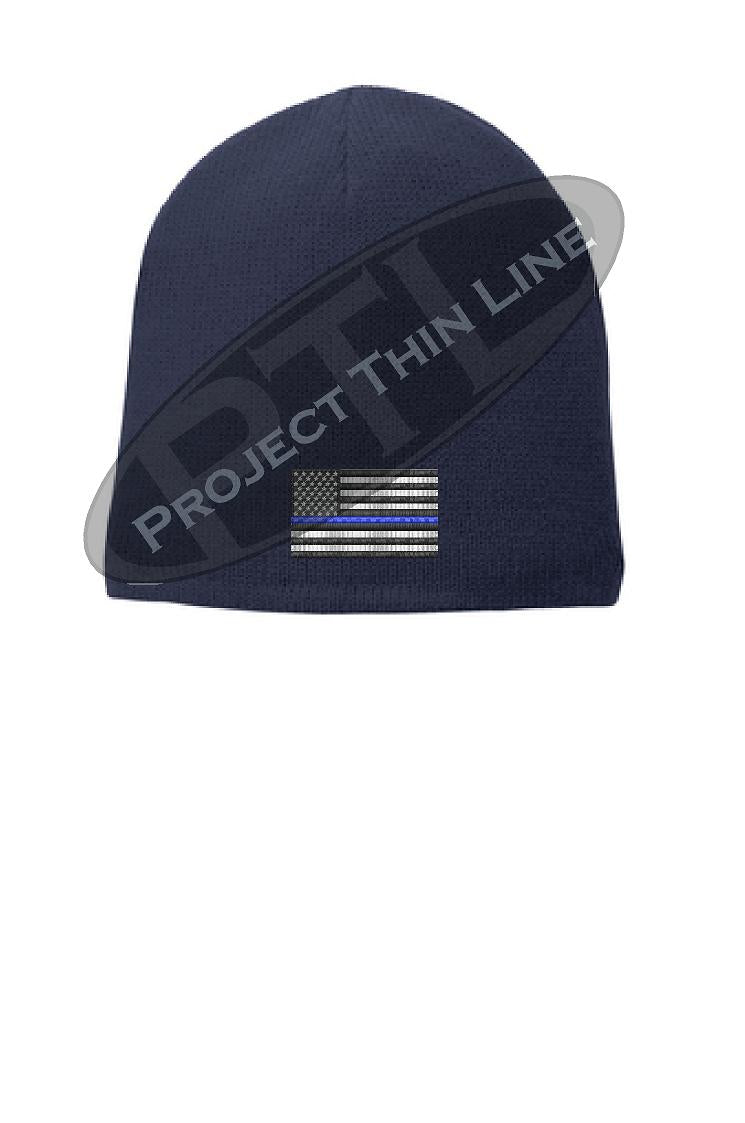 Thin BLUE Line Amercian Flag FLEECE LINED Skull Cap