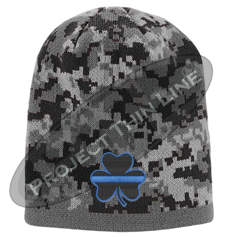 Black Camouflage Hat with Black Shamrock and Thin Blue Line design