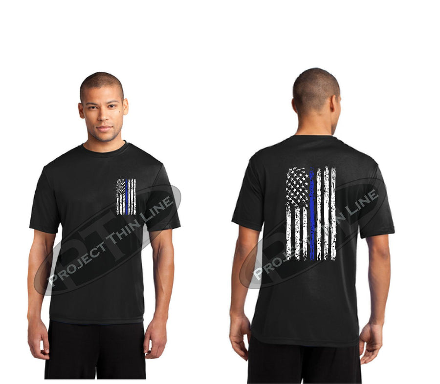 BLACK Thin BLUE Line Tattered American Flag Performance Short Sleeve Shirt