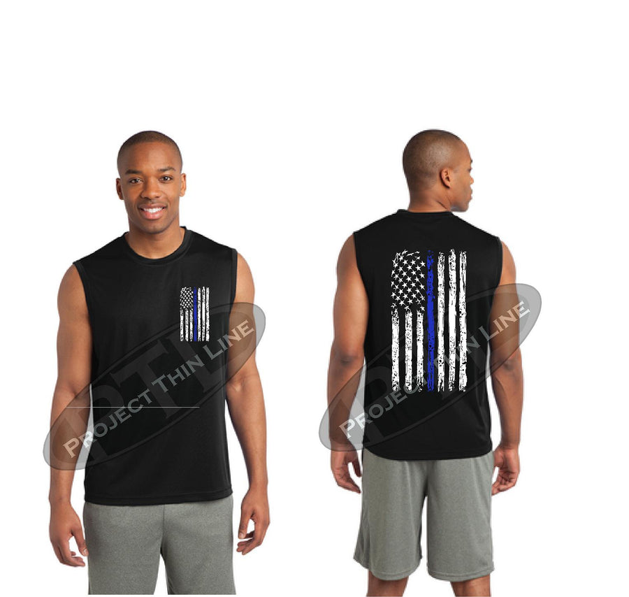 BLACK Thin BLUE Line Tattered American Flag Performance Tank Top
