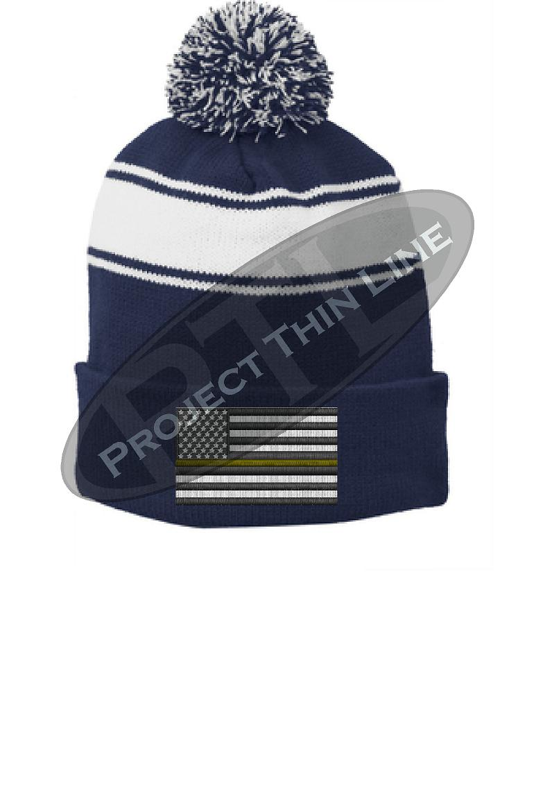 Thin GOLD Line Embroidered FLAG Blue Pom Pom Winter Hat