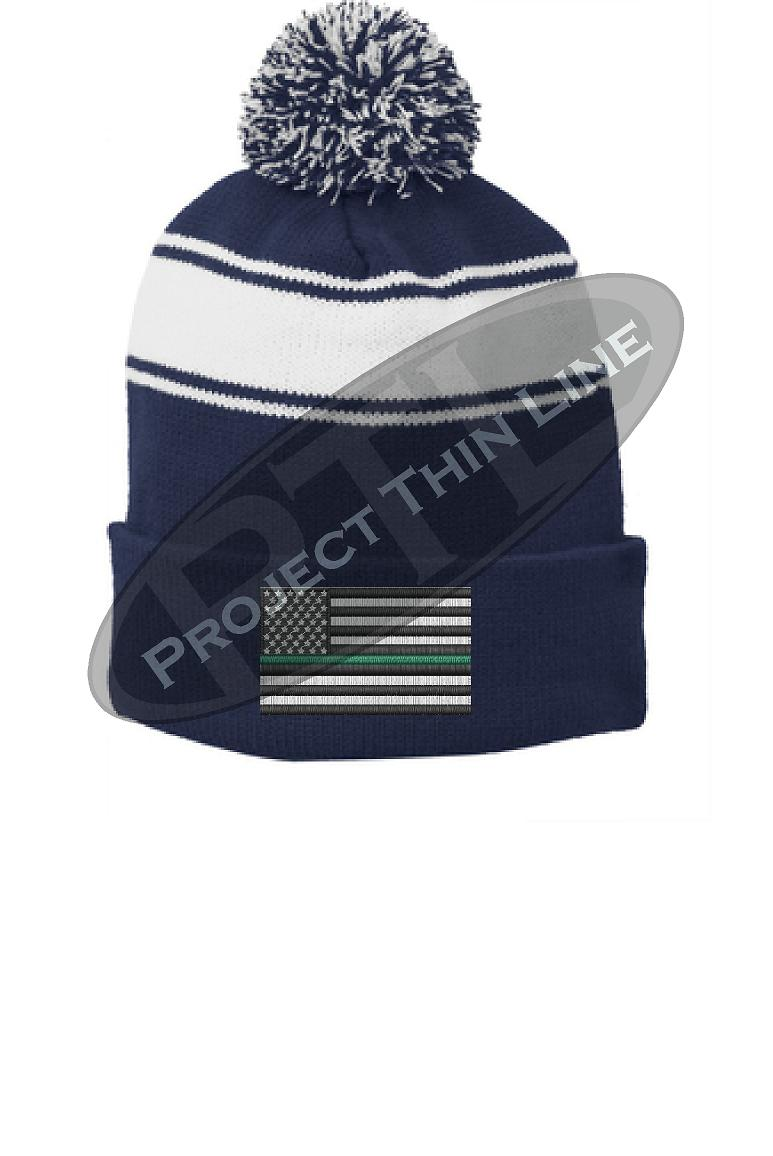 Thin GREEN Line Embroidered FLAG Blue Pom Pom Winter Hat