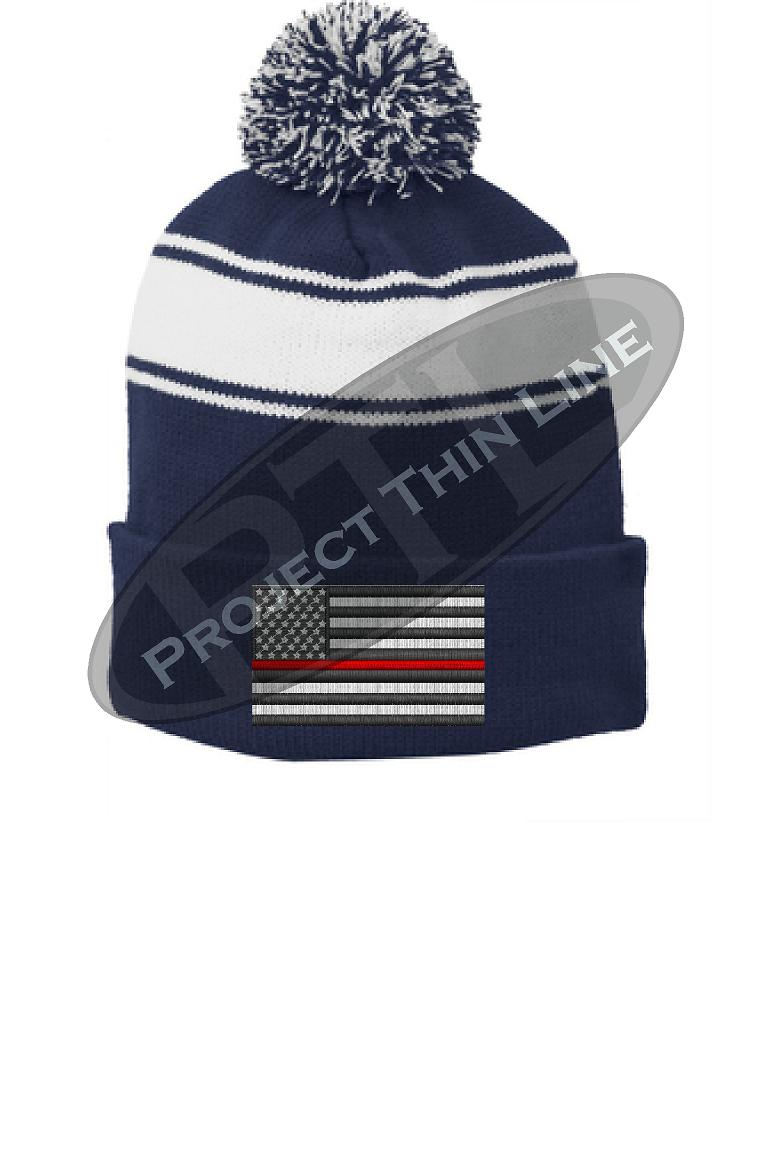 Thin RED Line Embroidered FLAG Blue Pom Pom Winter Hat