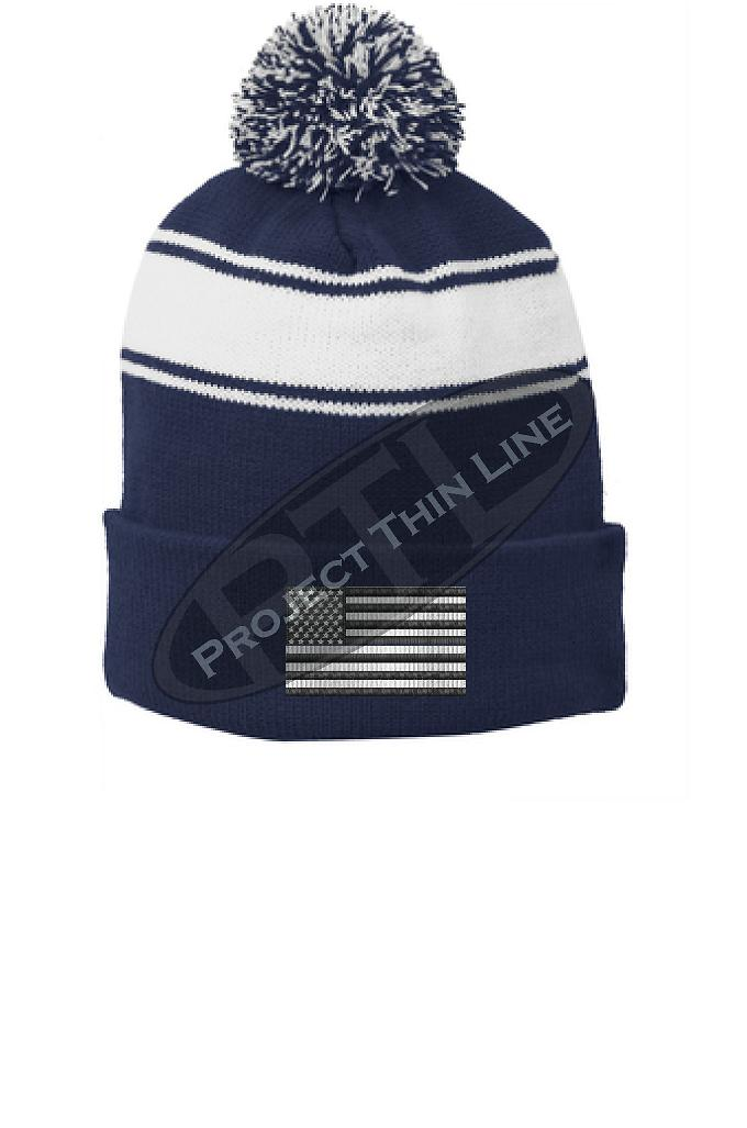 Subdued Line American Flag POM POM Winter Hat