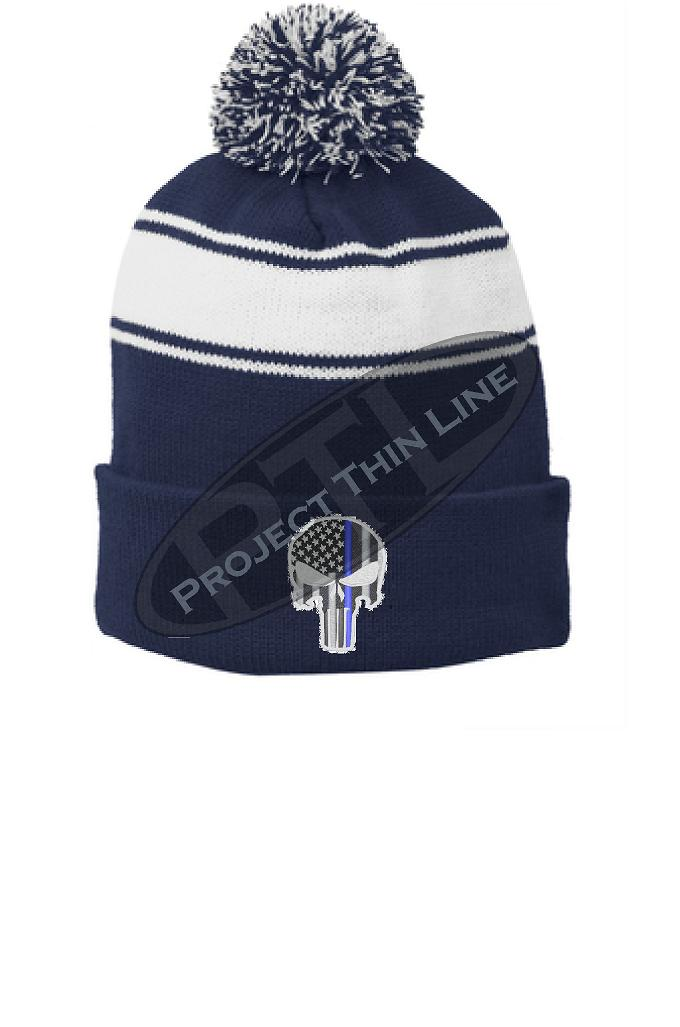 Thin BLUE Line Embroidered Skull BLUE Pom Pom Winter Hat