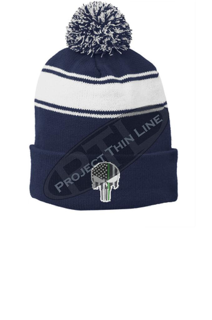 Thin GREEN Line Embroidered Skull Blue Pom Pom Winter Hat