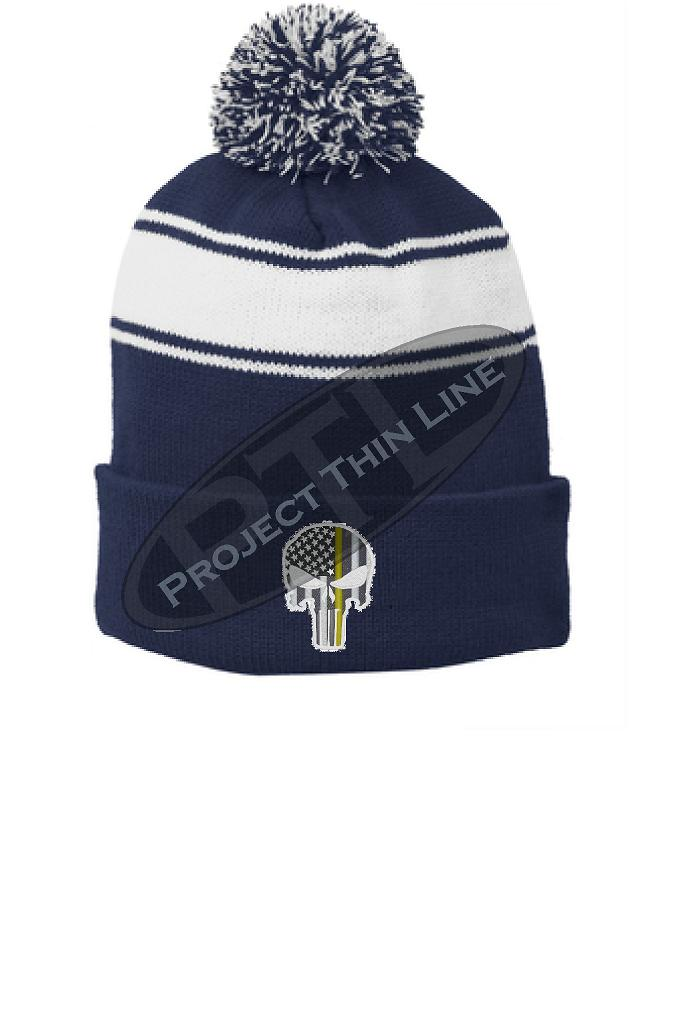 Thin GOLD Line Embroidered Skull Blue Pom Pom Winter Hat