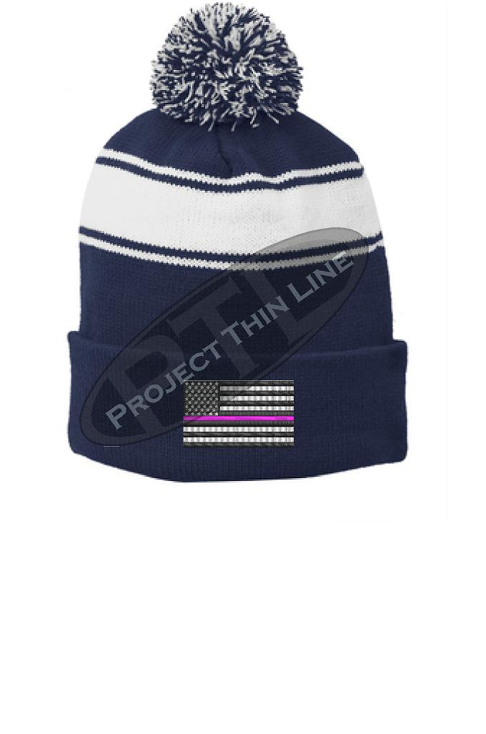 Thin PINK Line Embroidered FLAG Blue Pom Pom Winter Hat
