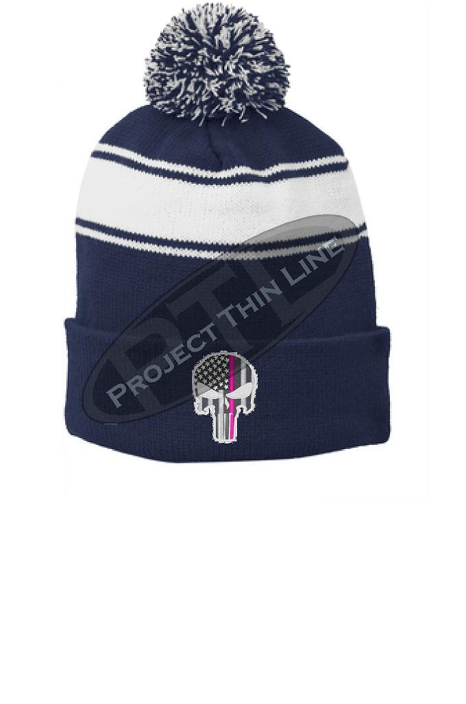 Thin PINK Line Embroidered SKULL Blue Pom Pom Winter Hat