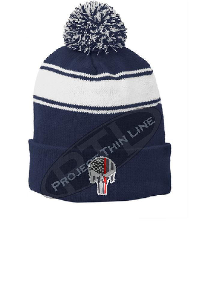 Thin RED Line Embroidered SKULL Blue Pom Pom Winter Hat