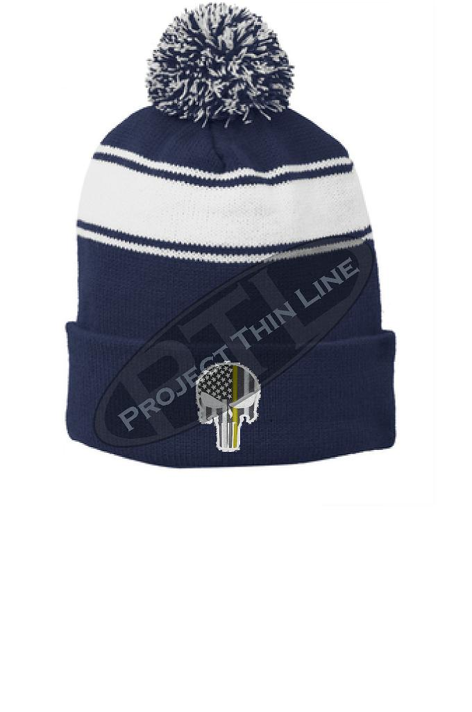 Thin Yellow Line Embroidered Punisher Skull Blue Pom Pom Winter Hat