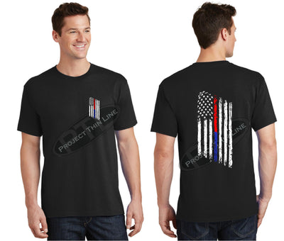 Black Thin BLUE / RED Line Tattered American Flag Short Sleeve Shirt