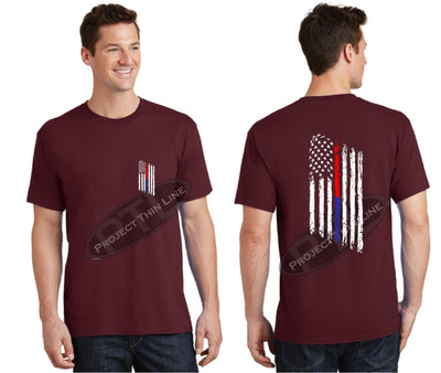Maroon Thin BLUE / RED Line Tattered American Flag Short Sleeve Shirt
