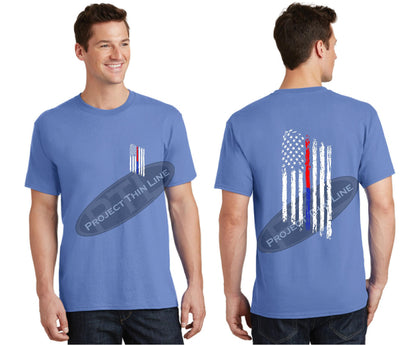 Carolina Blue Thin BLUE / RED Line Tattered American Flag Short Sleeve Shirt