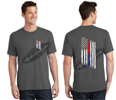 Charcoal Thin BLUE / RED Line Tattered American Flag Short Sleeve Shirt