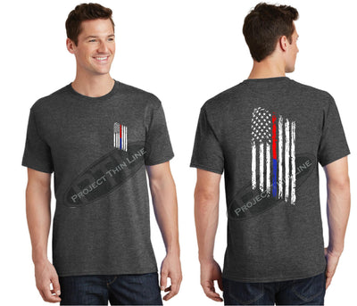 Dark Grey Thin BLUE / RED Line Tattered American Flag Short Sleeve Shirt